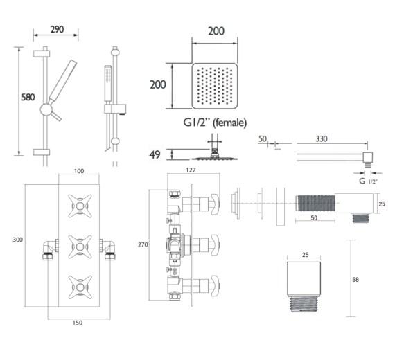 Technical drawing QS-V6997 / GLORIOUS SHWR PK