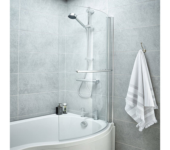 Premier 850-870 x 1435mm Curved Screen With Rail For B-Bath