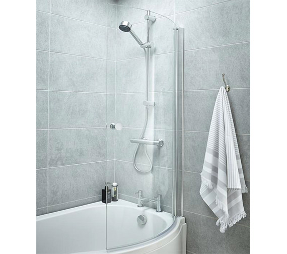 Premier 720 x 1435mm Curved Screen With Knob For P-Bath