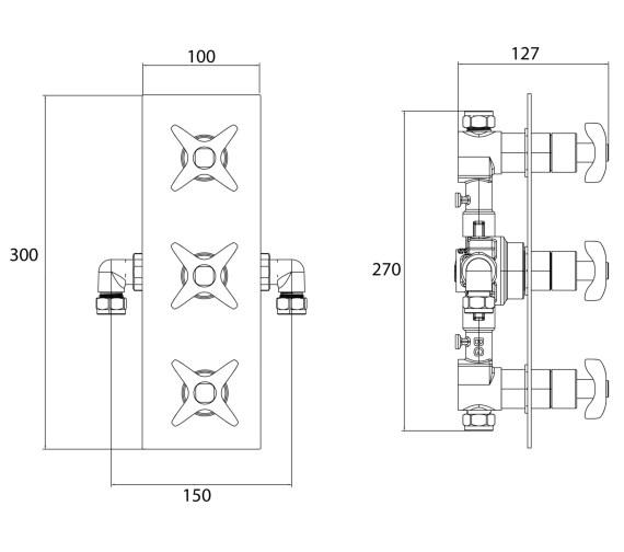 Technical drawing QS-V7504 / GLR SHC3STP C