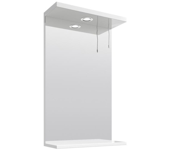 Lauren Mayford Gloss White 450mm Mirror With Light Canopy