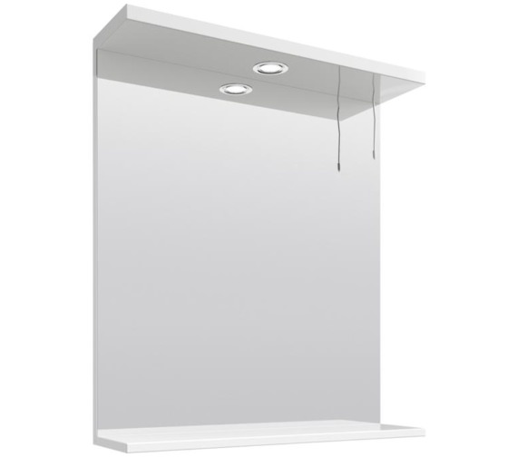 Lauren Mayford Gloss White 650mm Mirror With Light Canopy