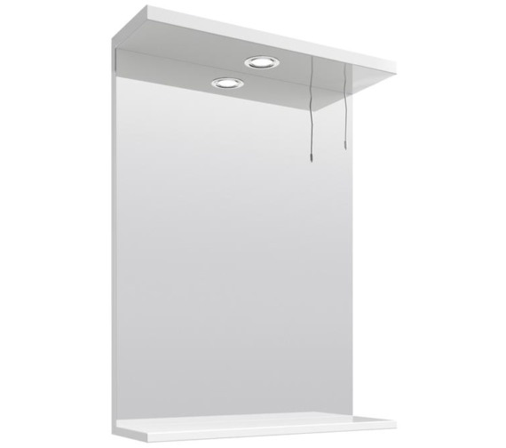 Lauren Mayford Gloss White 550mm Mirror With Light Canopy