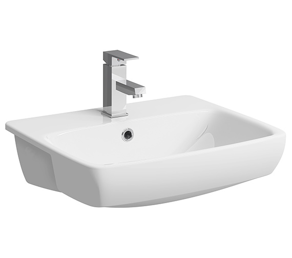 Twyford E100 Square 550 x 440mm Semi-Recessed 1 Tap Hole Basin