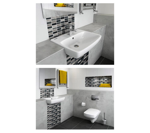 Additional image of Twyford E100 Square 550 x 440mm Semi-Recessed Basin