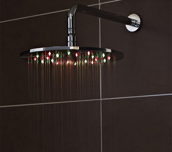 Alternate image of Nuie Round Or Square 200mm Fixed Shower Head With LED
