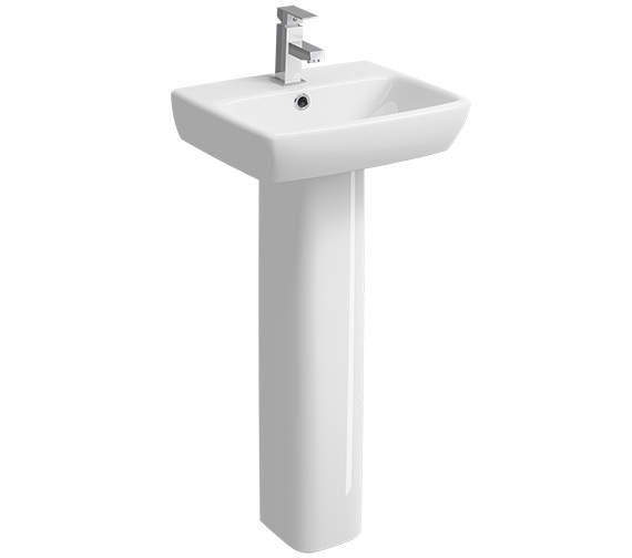 Twyford E100 Square 1 Tap Hole Basin With Full Pedestal 450 x 350mm