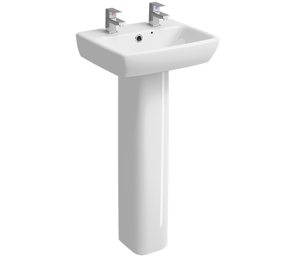 Twyford E100 Square 450 x 350mm 2 Tap Hole Washbasin With Full Pedestal