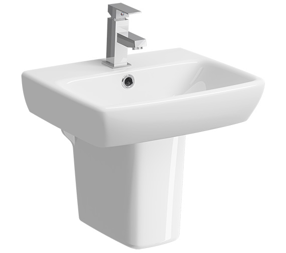 Twyford E100 Square 450 x 350mm 1 Tap Hole Washbasin With Semi Pedestal