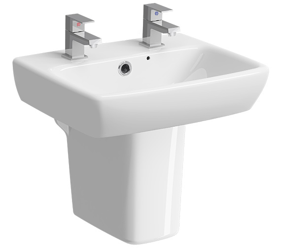 Twyford E100 Square 450 x 350mm 2 Tap Hole Washbasin With Semi Pedestal