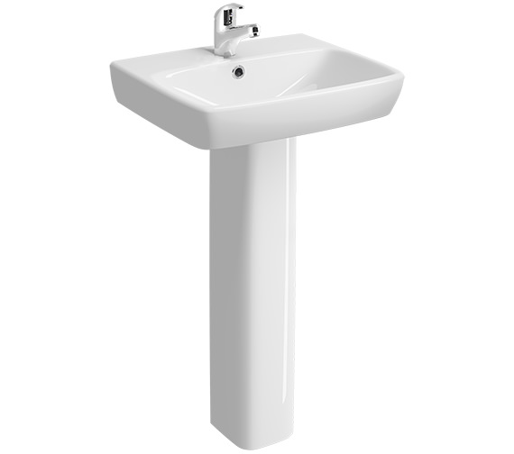Twyford E100 Square 500 x 420mm 1 Tap Hole Washbasin With Full Pedestal