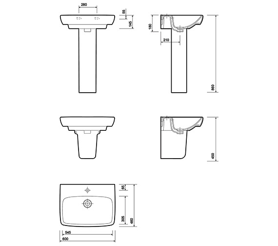 Alternate image of Twyford E100 Square 500mm Washbasin With Full Pedestal - More Sizes Available