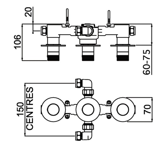 Technical drawing QS-V7577 / ORB SHC3STP C