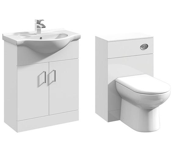Lauren 2 Door 650mm Bathroom Vanity Unit With Back To Wall WC Unit