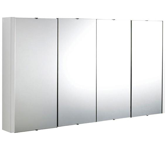 Nuie Premier Eden High Gloss White 1200mm 4 Door Mirror Cabinet