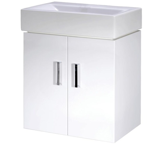 Lauren Checkers 450mm Wall Hung Cabinet With Basin