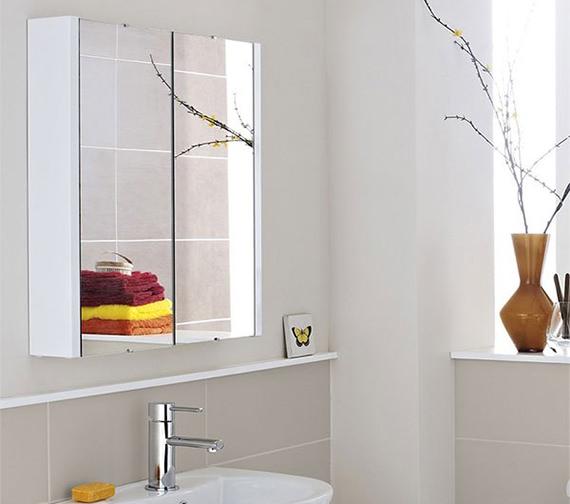 Lauren design high gloss white 600mm 2 door mirror cabinet for Bathroom cabinets 400mm wide