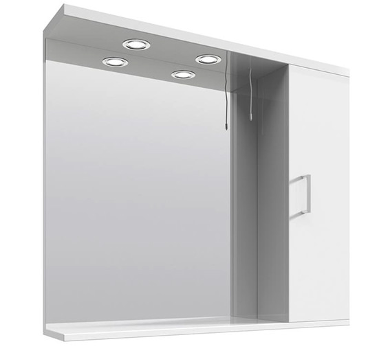 Lauren Mayford High Gloss White 850mm Mirror Cabinet With Lights