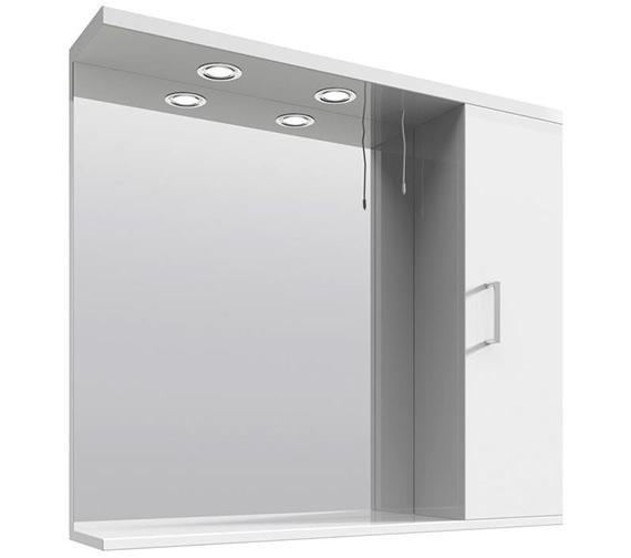 Lauren mayford high gloss white 850mm mirror cabinet with - High gloss bathroom cabinets white ...