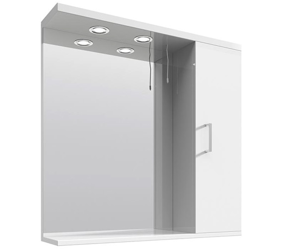 Lauren Mayford High Gloss White 750mm Mirror Cabinet With Lights