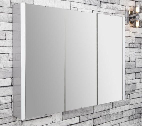 Nuie Premier Eden High Gloss White 900mm 3 Door Mirror Cabinet
