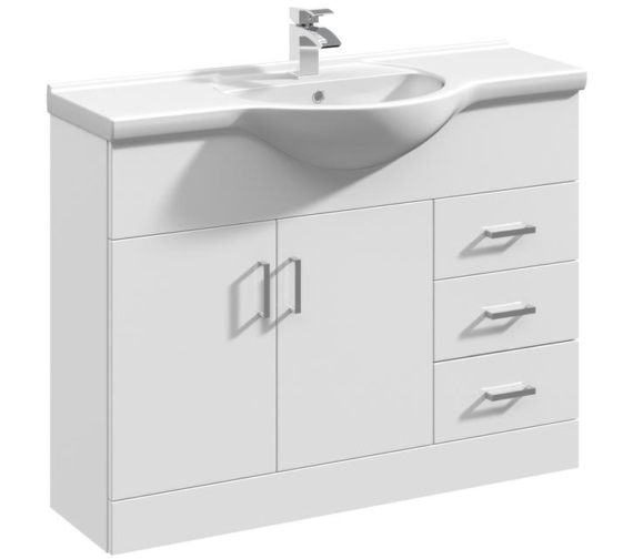 Premier Mayford 1050mm Floor Standing 2 Door And 3 Drawer Cabinet With Basin