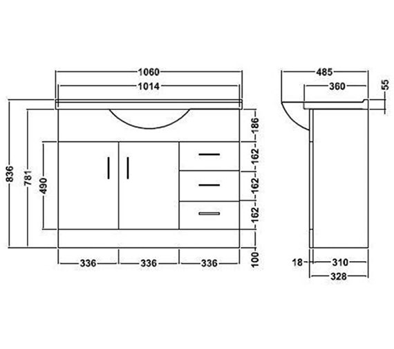 Technical drawing QS-V45063 / PRC106