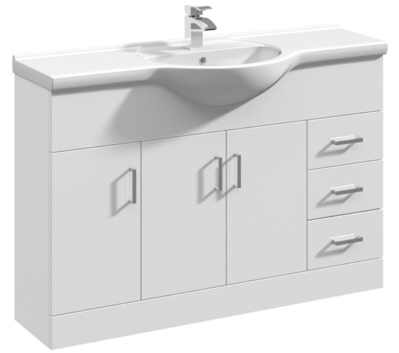 Nuie Mayford 1200mm Floor Standing 3 Door And 3 Drawer Cabinet With Basin