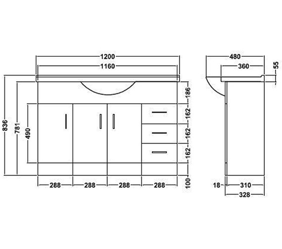 Technical drawing QS-V45064 / PRC107
