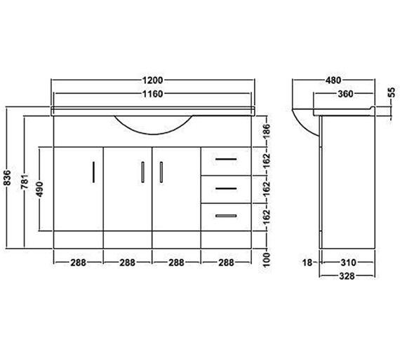 Technical drawing QS-V45064 / PRC107