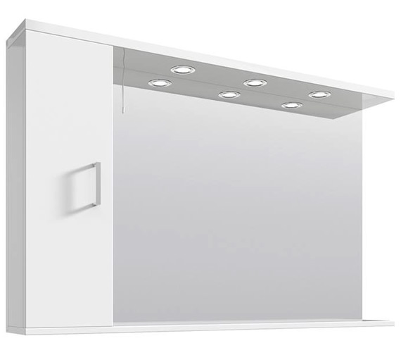 Lauren Mayford High Gloss White 1200mm Mirror Cabinet With Lights