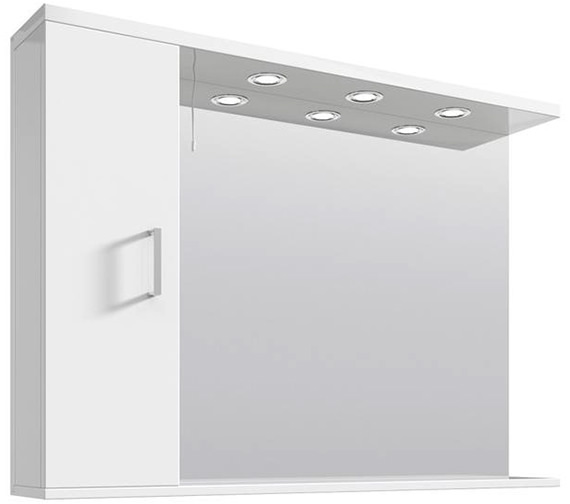 Lauren Mayford High Gloss White 1050mm Mirror Cabinet With Lights