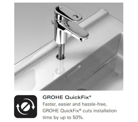 Alternate image of Grohe EuroStyle S-Size Single Hole Basin Mixer Tap Chrome