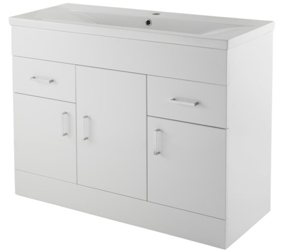 Premier Eden 1000mm Floor Standing 3 Door And 2 Drawer Cabinet With Basin 1