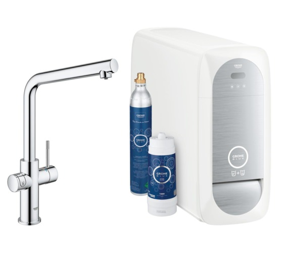 Grohe Blue L Spout Chrome Kitchen Sink Mixer Tap With Filter Kit