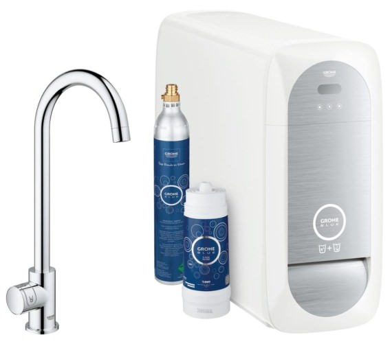 Grohe Blue Home Mono Chrome C Spout Kitchen Sink Mixer Tap With Filter Kit