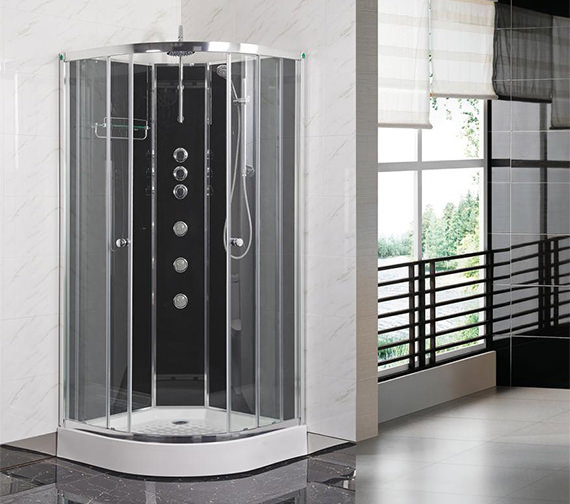 Lauren Opus 1000 x 1000mm Quadrant Carbon Black Shower Cabin