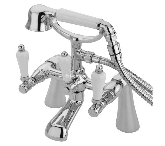 Tre Mercati Victoria Bianco Pillar Bath Shower Mixer Tap With Kit