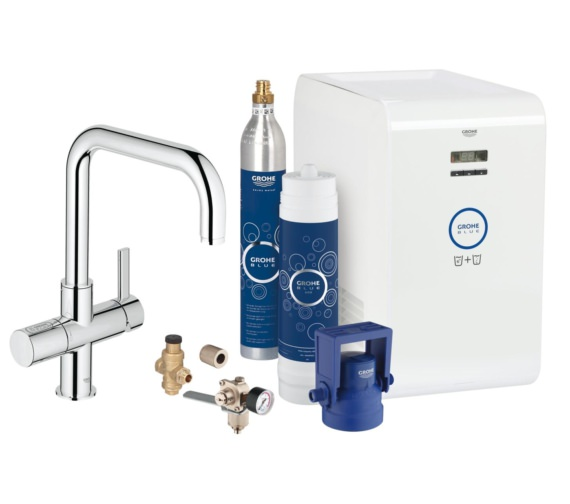 Grohe Blue Professional Chrome Kitchen Sink Mixer Tap With Starter Kit