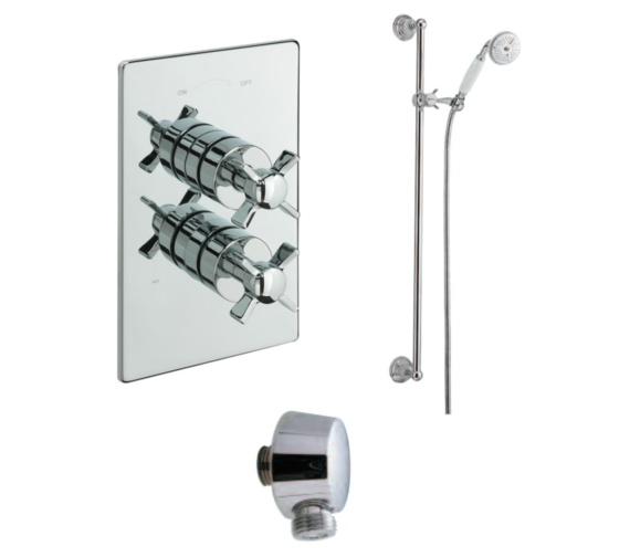 Tre Mercati Imperial Concealed Thermostatic Valve With Slide Rail Kit And Wall Outlet
