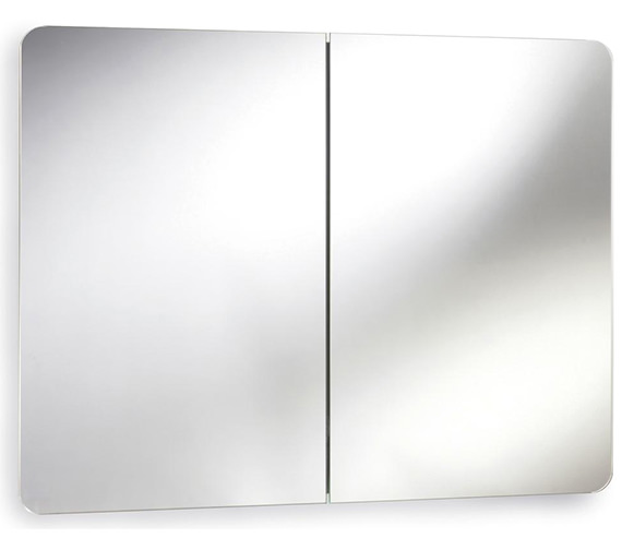 Lauren Mimic 800mm Stainless Steel Double Mirrored Cabinet With Hinged Door