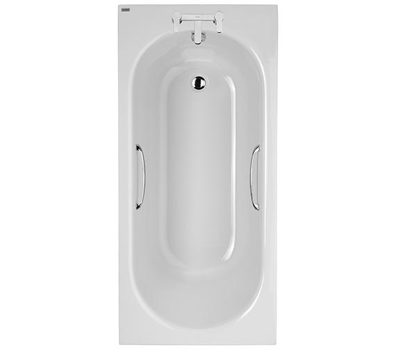 Twyford Opal Plain 1500 x 700mm Acrylic Bath With Grips - 2 Tap Hole