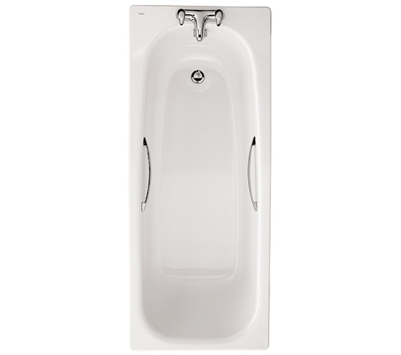 Twyford Neptune Slip Resistant Steel Bath With Grips 1500 x 700mm - 2 Tap Hole
