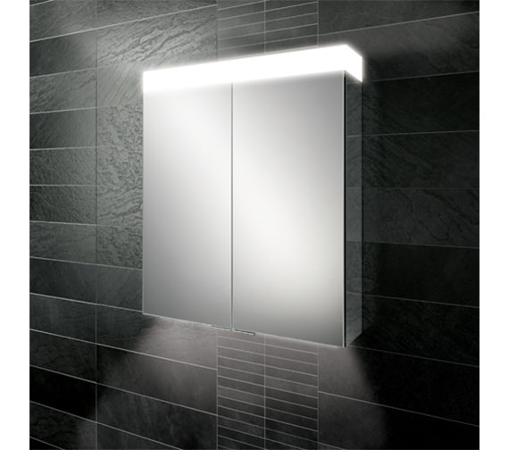 Additional image of HIB Apex 750mm High Double Door LED Aluminium Mirror Cabinet