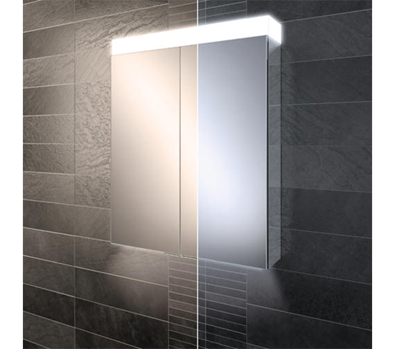 Alternate image of HIB Apex 750mm High Double Door LED Aluminium Mirror Cabinet