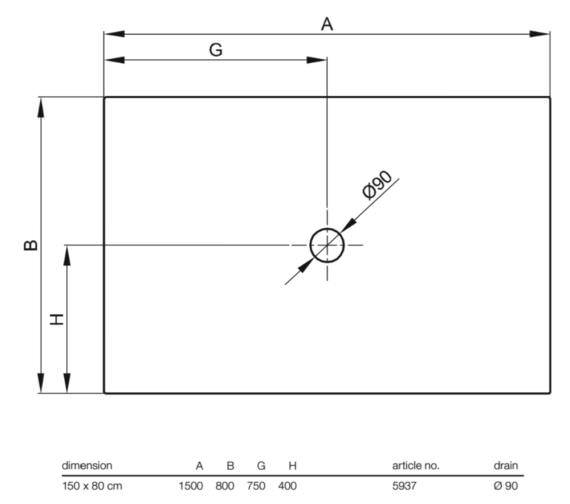 bette floor level 1500 x 800mm rectangular shower tray. Black Bedroom Furniture Sets. Home Design Ideas