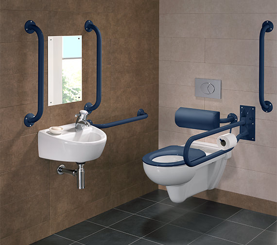 Twyford Doc.M Rimless Wall Hung WC Pack With Grab Rails And Seat