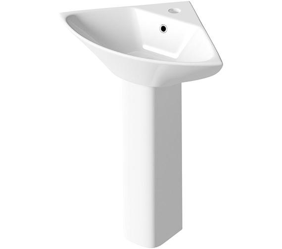 Lauren Carmela 450mm Corner Basin With Pedestal And 1 Tap Hole