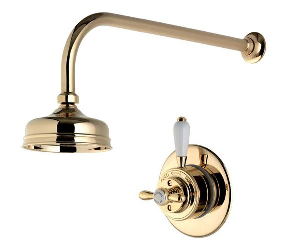 Alternate image of Aqualisa Aquatique Gold 5Inch Drencher Fixed Head And Wall Arm