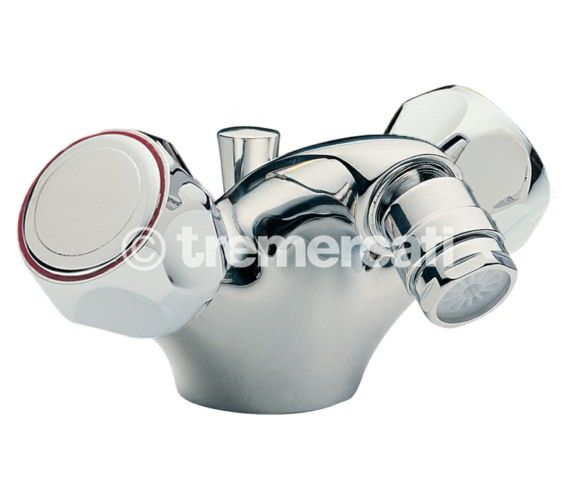 Tre Mercati Capri Mono Bidet Mixer Tap With Pop-Up Waste And Clear Heads